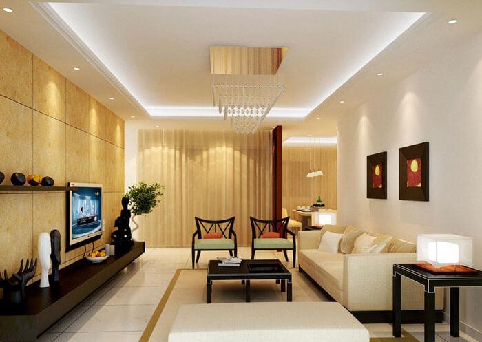 Скрытая подсветка потолка в гостиной