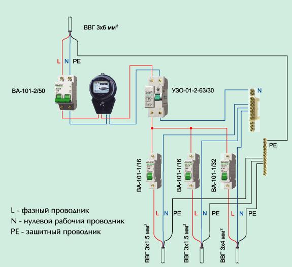 Схема подключения УЗО с