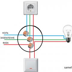 Схема подключения розетка - выключатель - лампочка