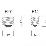Размеры резьбы E27 и E14