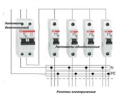 Электрическая схема подсоединения защитных устройств