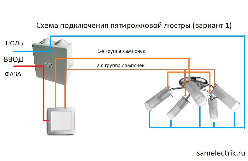Схемы соединения люстры