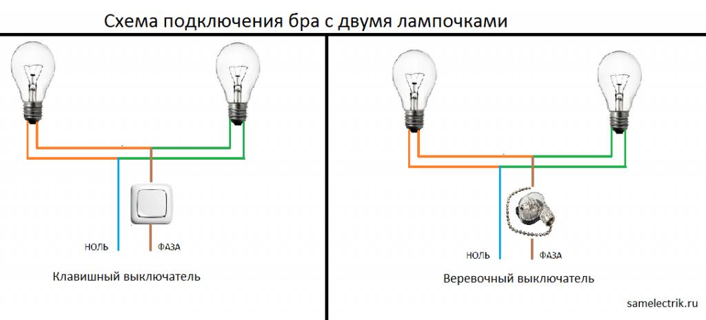 Схема подключения выключателя и лампочки к сети