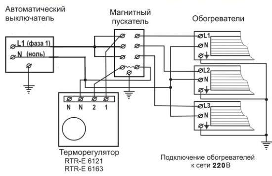 Подсоединение магнитного пускателя