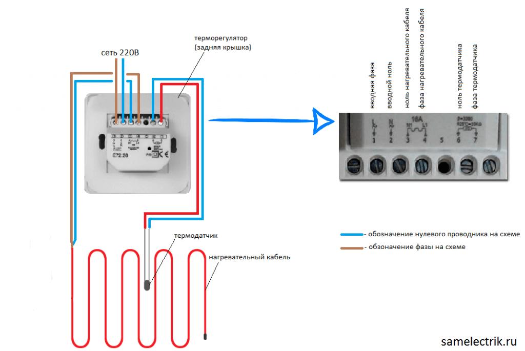 Термостат для теплого пола legrand схема подключения