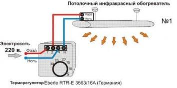 Схема подключения ИК-обогревателя к сети
