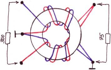 Схема создания согласующего трансформатора с 300 на 75 Ом