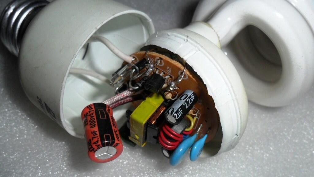 Ремонт энергосберегающей лампы своими руками фото
