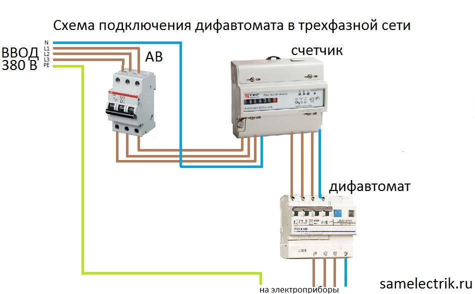 Схема защиты трехфазной сети