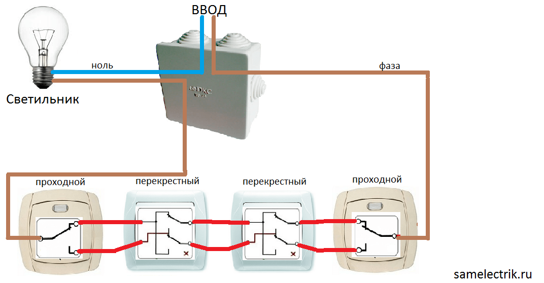 Контроль освещения из 4-х мест
