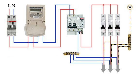 Схема с вводным защитным устройством
