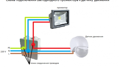 Схема подключения прожектора к сенсору и фотореле