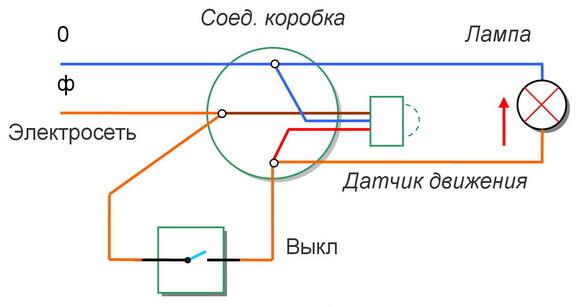 Соединение датчика движения с выключателем
