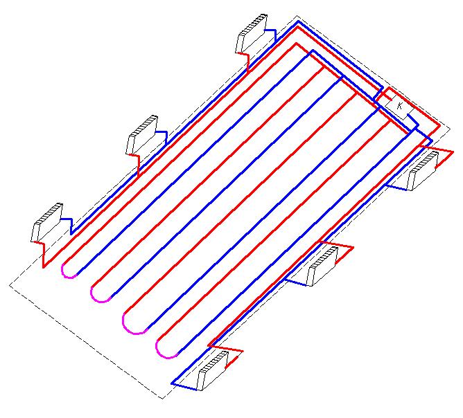 Водяной теплый пол с конвекторами
