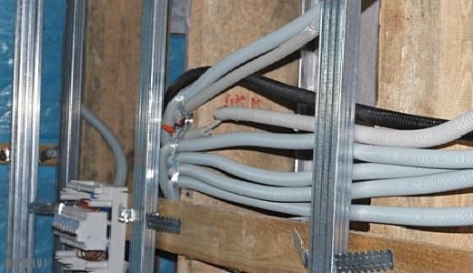 Прокладка кабеля через каркас
