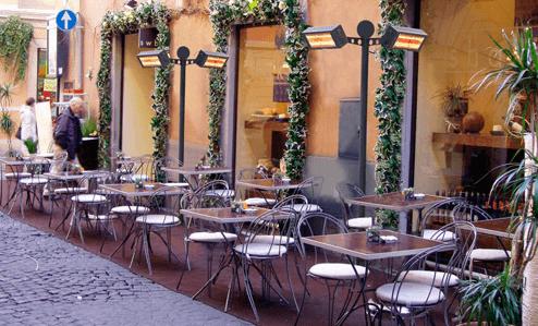 Пример обогрева летней веранды в кафе