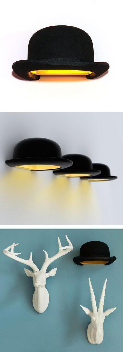Шляпы-светильники на стенах