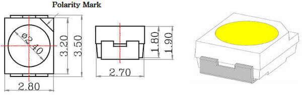 Размеры светодиода