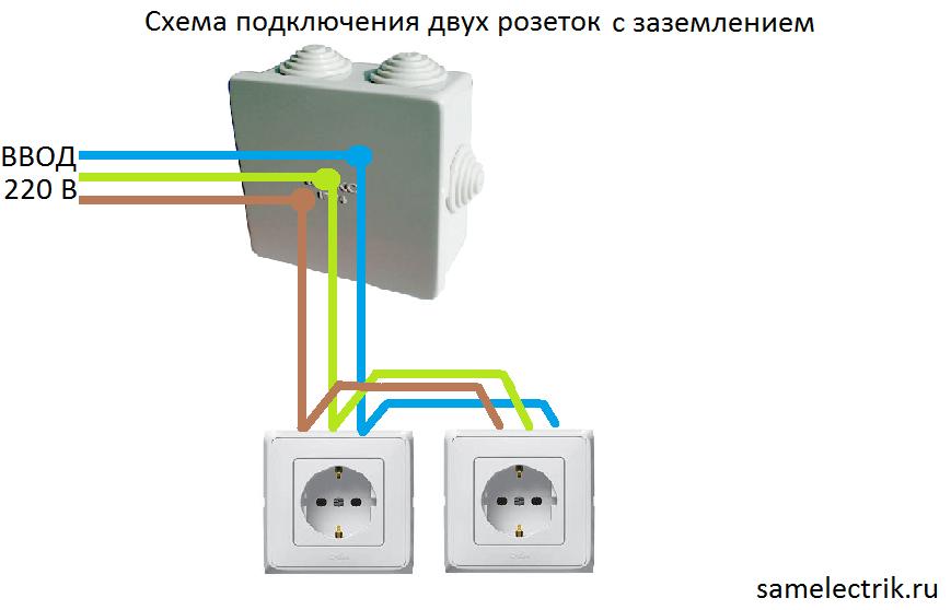 Схема подключения розетки штепсельной