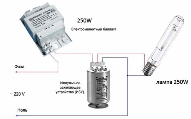 Схема включения лампы