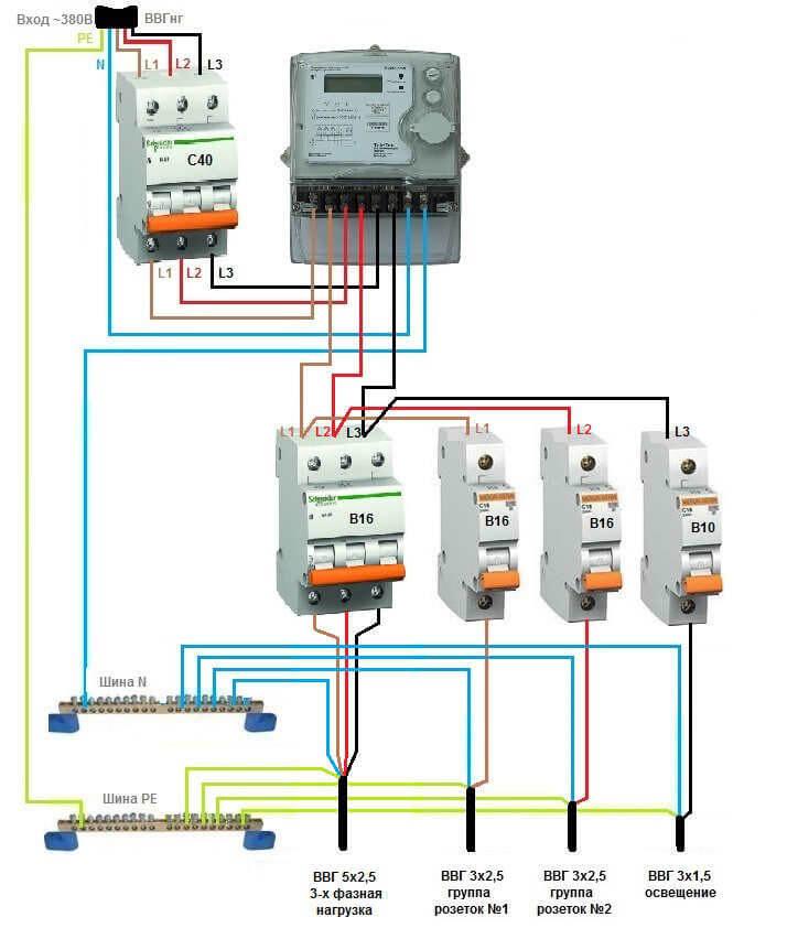 Схема электрощита 380 доме фото 643
