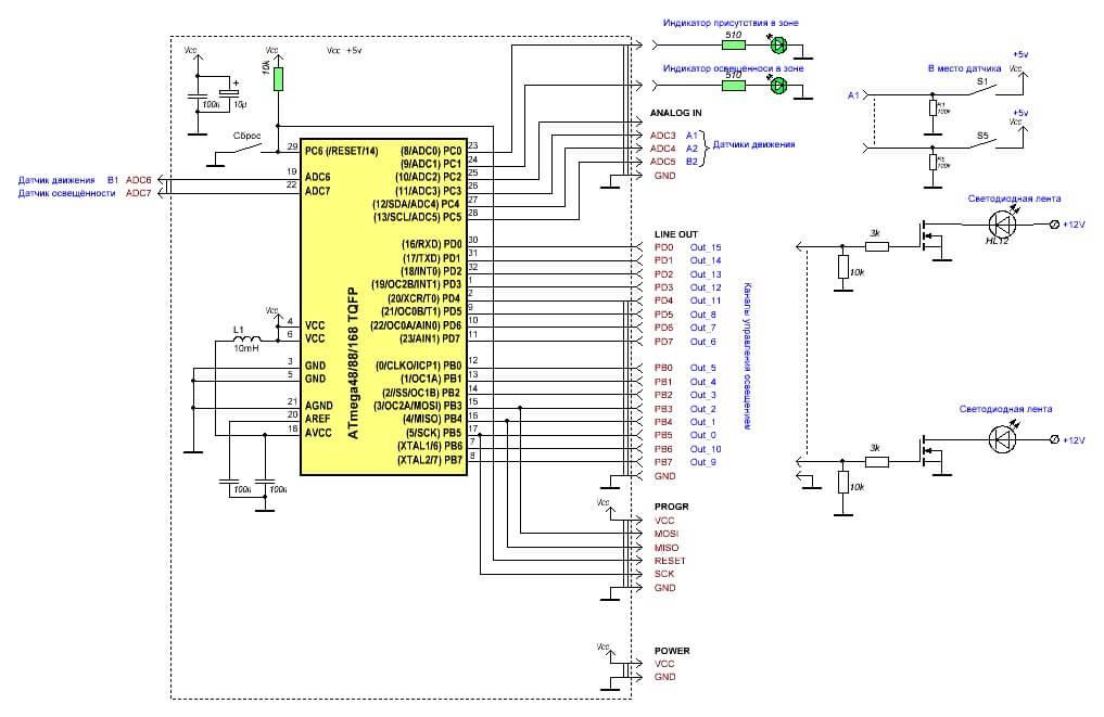 Схема подсветка лестницы светодиодной лентой своими руками 75