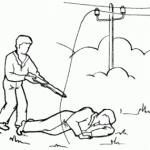 Оттолкните провод сухой палкой