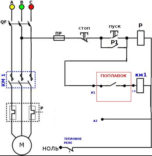 Схема подключения погружного насоса - подключение.