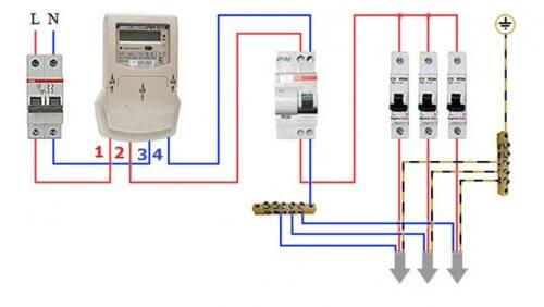 Схема подключения счетчика и автоматов