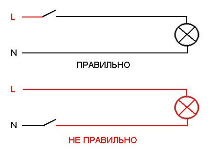 Схема подключения выключателя света
