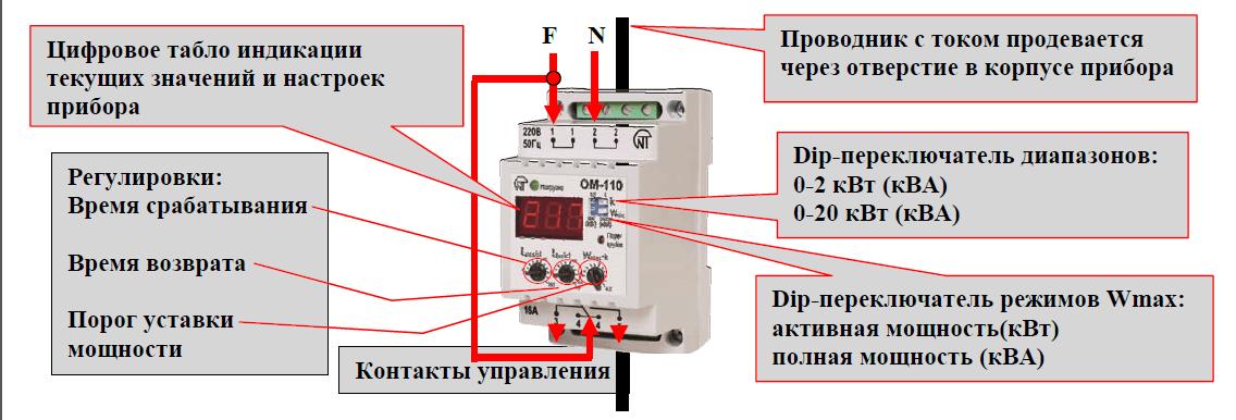 Схема монтажа однофазной модели