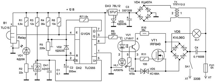 Датчик движения для включения света схема