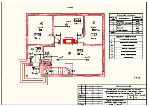 План разводки электропроводки