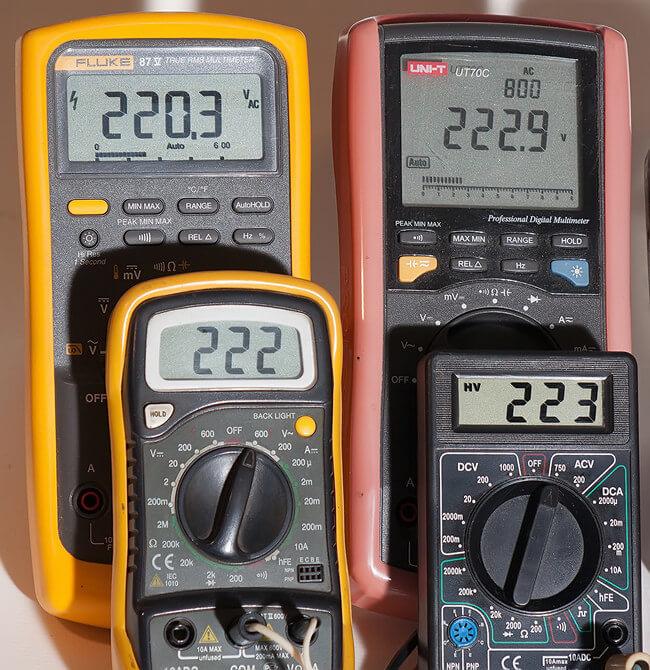 Погрешность в замерах напряжения 220 Вольт