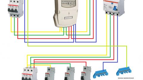 Схема подключения УЗО в трехфазной сети