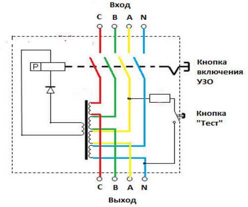 Электрическая схема выключателя дифференциального тока
