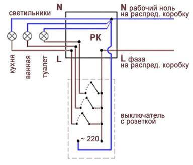 Управление светом в кухне, ванной и туалете