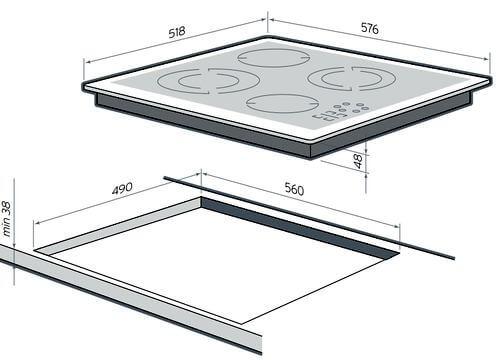 Размеры поверхности и проема в столешнице