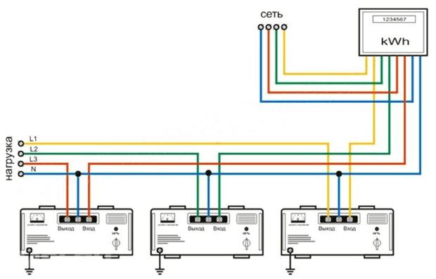 Схема подключения трех однофазных СН