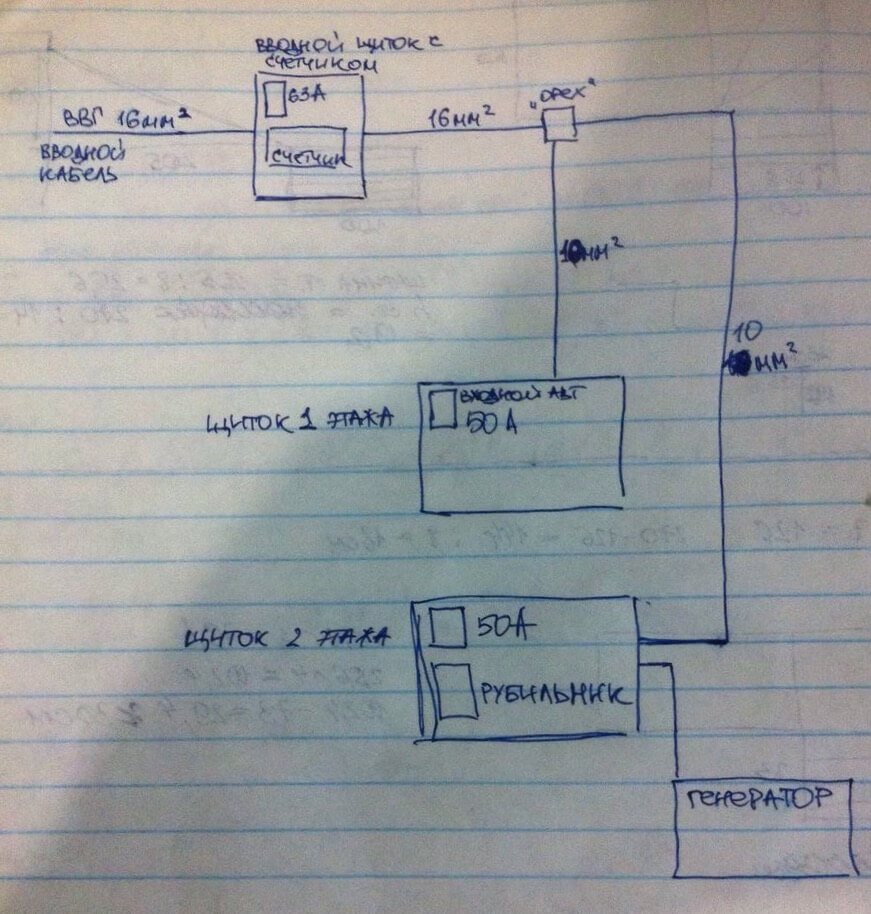 Схема электропроводки в двухэтажном доме