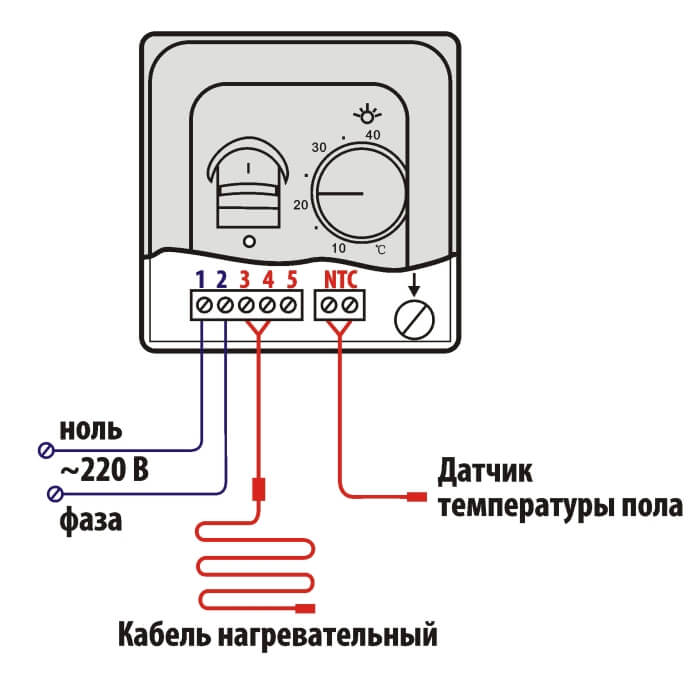 Схема подключения к механическому регулятору температуры