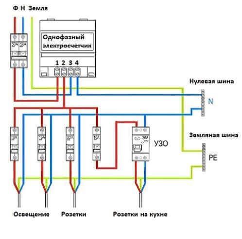Схема однофазного подключения