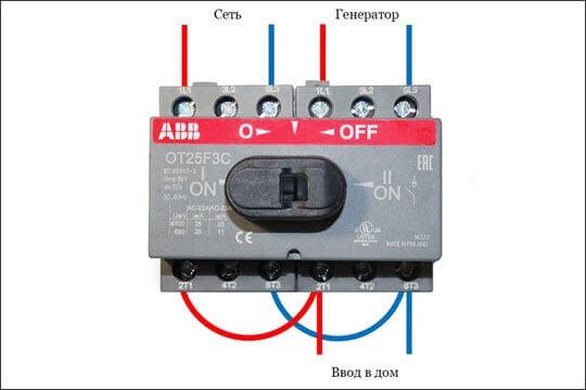 Подключение трехполюсного рубильника ABB