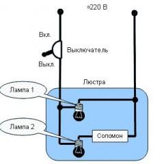 Схемы управления люстрой по двум проводам