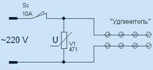 Схема простейшего сетевого фильтра