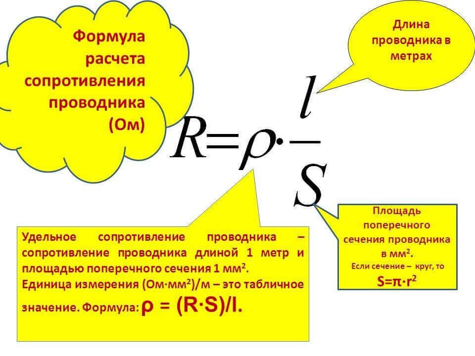 Расчет сопротивления провода по сечению, диаметру, длине - формулы