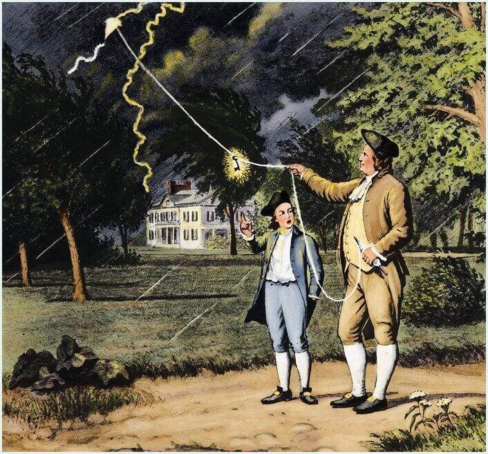 Франклин ловит молнию