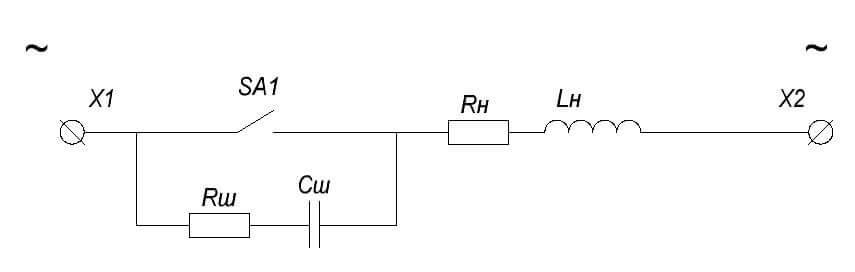 Искрогасительная RC цепь