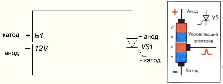 Схема тиристора