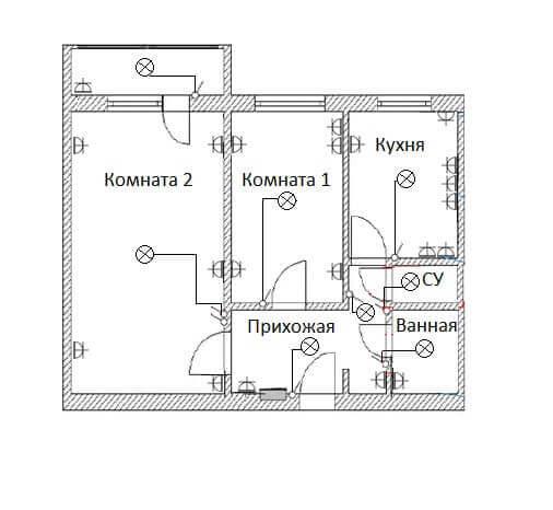 Схема электропроводки в двухкомнатной хрущевке